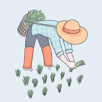 Ilustração de agricultor plantando arroz