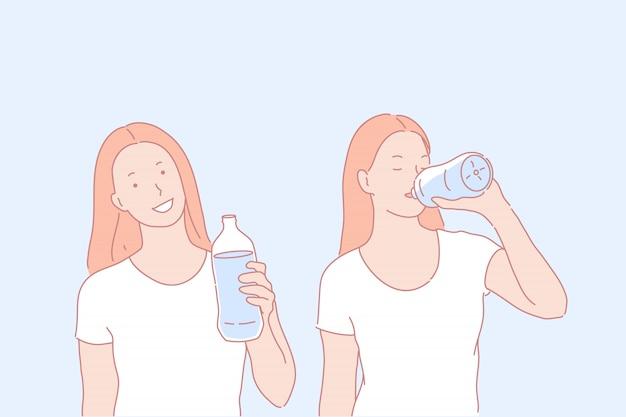 Ilustração de água potável de personagem de mulher