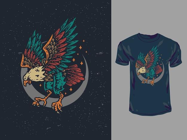 Ilustração de águia colorida desenhada à mão vintage
