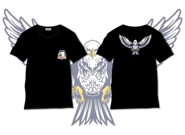 Ilustração de águia com desenho de camiseta desenhada à mão
