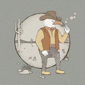 Ilustração de águia cowboy estilo retro desenhada à mão