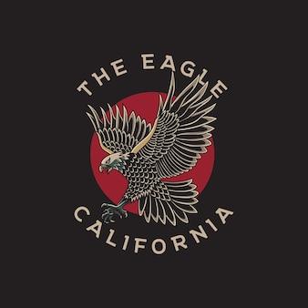 Ilustração de águia e círculo vermelho com estilo de tatuagem tradicional
