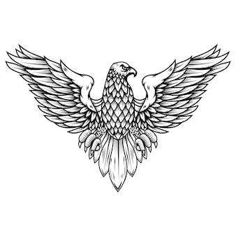 Ilustração de águia em gravura de estilo. elemento de design de logotipo, etiqueta, sinal, cartaz, crachá, emblema. ilustração vetorial