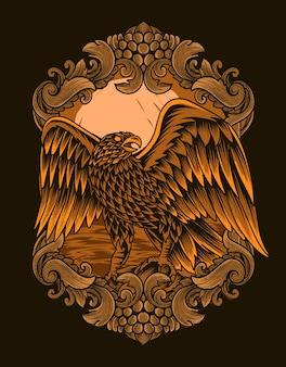 Ilustração de águia em ornamento de gravura vintage