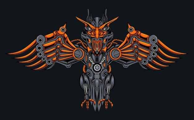 Ilustração de águia mecânica robótica