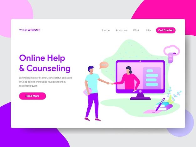 Ilustração de ajuda on-line do aluno para páginas da web