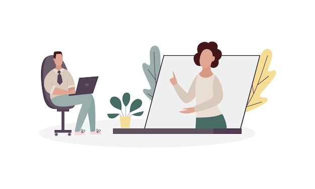 Ilustração de ajuda psicológica online para um paciente