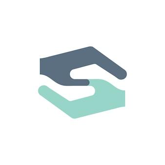 Ilustração, de, ajudando mãos, apoio, ícones