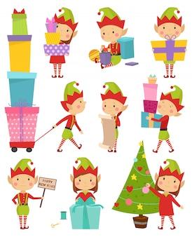 Ilustração de ajudantes de elfo