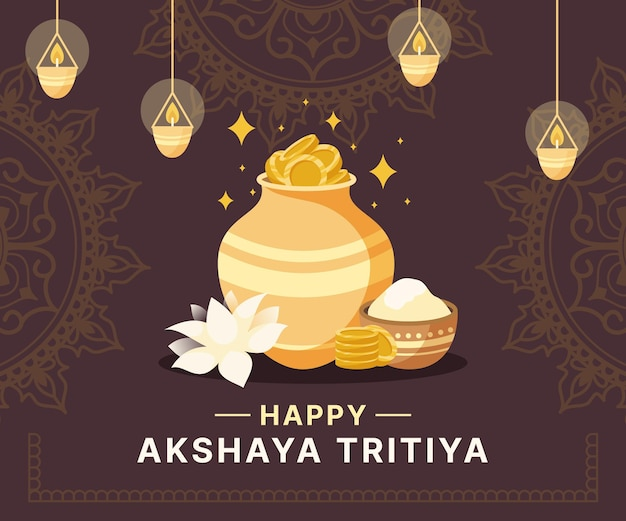 Ilustração de akshaya tritiya plana Vetor Premium