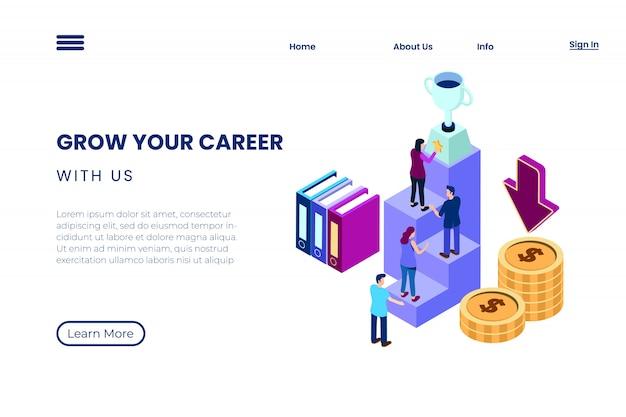 Ilustração de alcançar uma carreira em um ambiente corporativo, o processo de trabalho em equipe para alcançar o sucesso no estilo de ilustração 3d isométrica