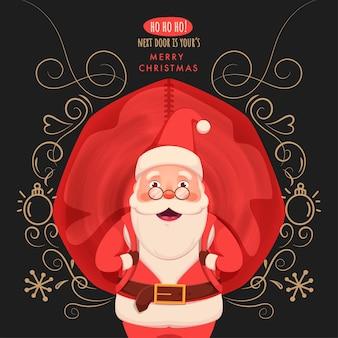 Ilustração de alegre papai noel carregando um saco vermelho pesado com motivo floral, floco de neve e bugiganga em fundo cinza escuro para feliz natal.