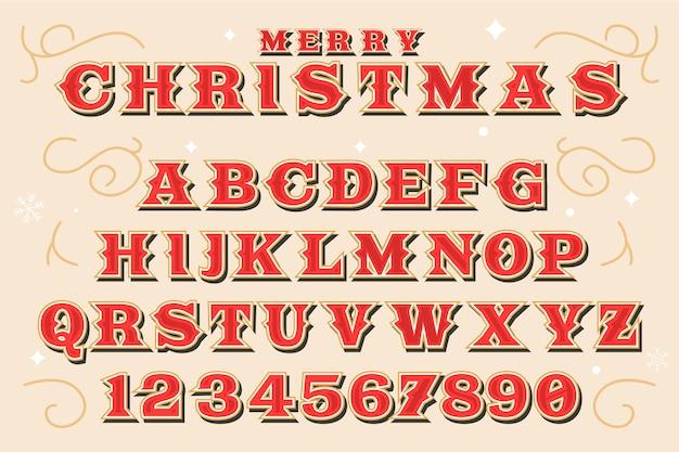 Ilustração de alfabeto de natal vintage