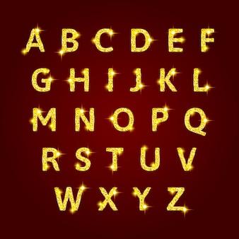 Ilustração de alfabeto dourado brilhante natal
