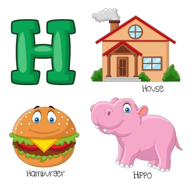 Ilustração, de, alfabeto h