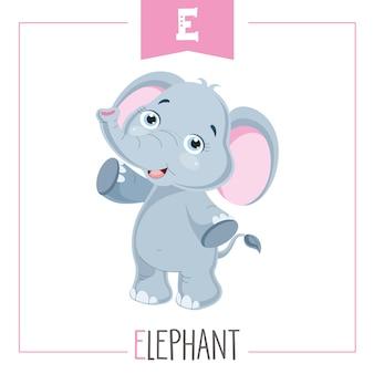 Ilustração de alfabeto letra e e elefante