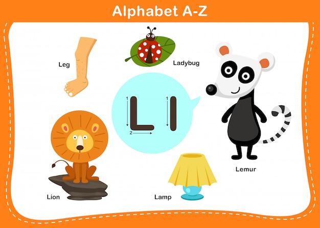 Ilustração de alfabeto letra l