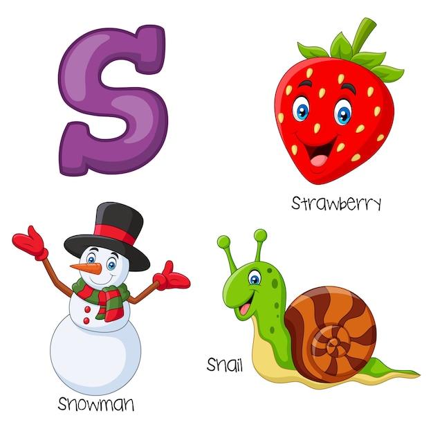 Ilustração, de, alfabeto s