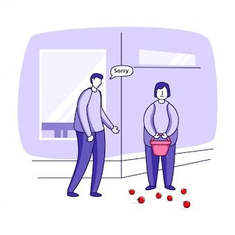 Ilustração de alguém esbarrar em outra pessoa