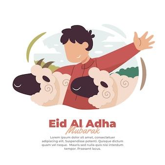 Ilustração de alguém feliz com a chegada de eid aladha
