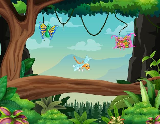 Ilustração de alguns insetos voando na floresta