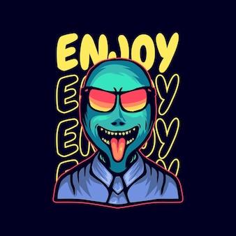 Ilustração de alienígenas felizes