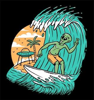 Ilustração de alienígenas surfando na praia