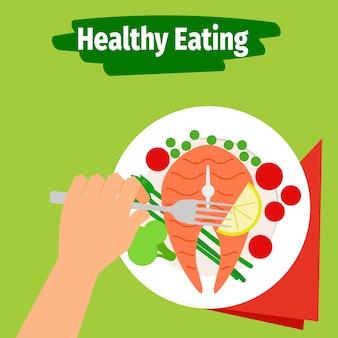 Ilustração de alimentação saudável com peixe