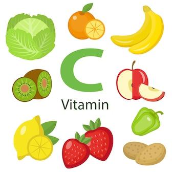 Ilustração de alimentos com vitaminas e minerais
