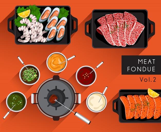 Ilustração de alimentos: conjunto de fondue de carne