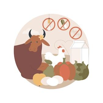 Ilustração de alimentos geneticamente modificados sem antibióticos, hormônios