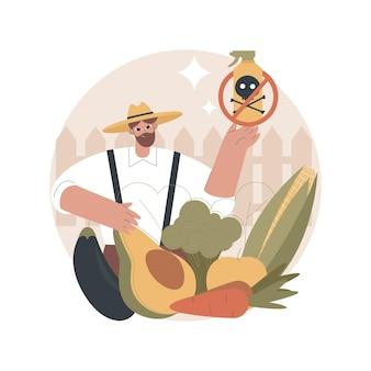 Ilustração de alimentos livres de pesticidas e herbicidas