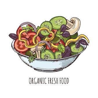 Ilustração de alimentos orgânicos frescos.