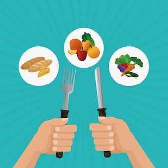 Ilustração de alimentos saudáveis, alimentação e nutrição relacionados
