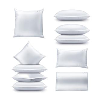 Ilustração de almofadas quadradas e retangulares brancas em branco. conjunto de almofada vista superior e frontal