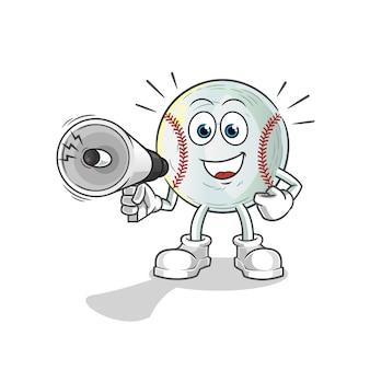 Ilustração de alto-falantes de mão segurando beisebol
