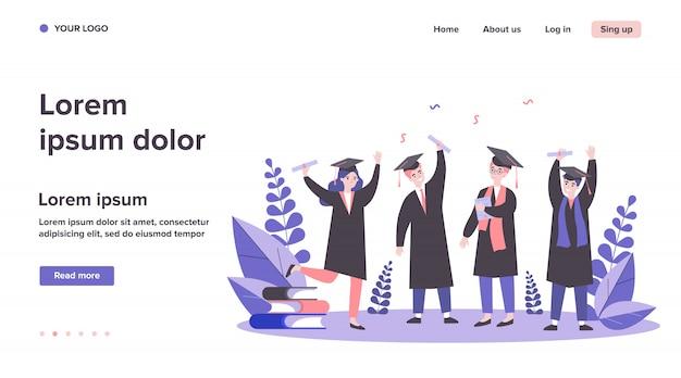 Ilustração de alunos graduados felizes