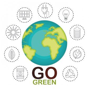 Ilustração de ambiental e ecologia conjunto de ícones
