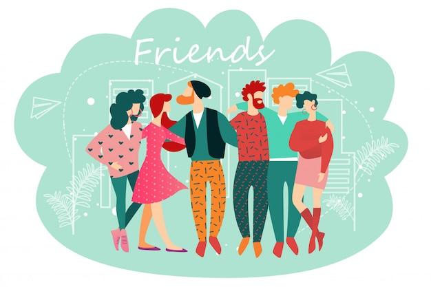 Ilustração, de, amigos, caricatura, pessoas, ficar, junto
