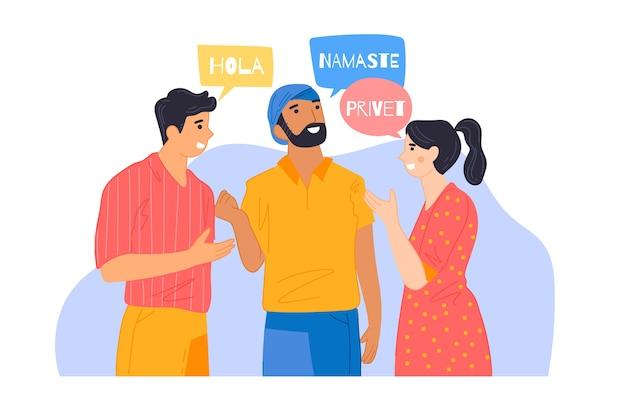 Ilustração de amigos conversando em diferentes idiomas