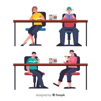 Ilustração, de, amigos, leitura, junto