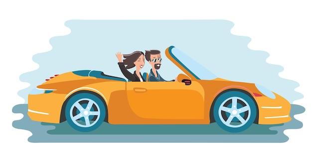 Ilustração de amigos viajando em um carro amarelo cabriolet. homens de óculos e mulheres acenando com a mão