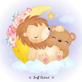Ilustração de amizade de leão e urso fofo em aquarela