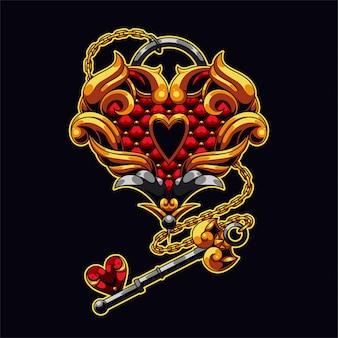 Ilustração de amor chave