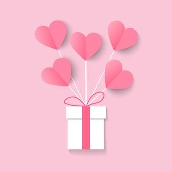 Ilustração de amor e dia dos namorados com balão de coração e caixa de presente