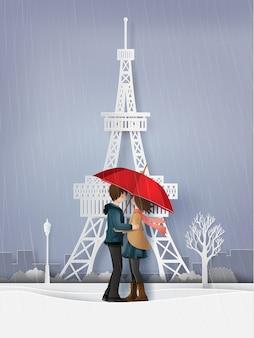 Ilustração de amor e estação chuvosa,