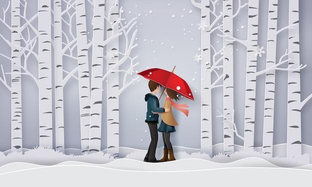 Ilustração de amor e inverno temporada,