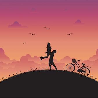 Ilustração de amor e paisagem romântica com casal apaixonado