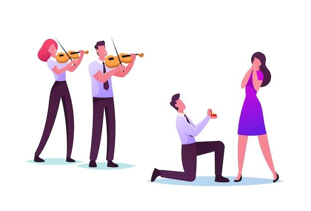 Ilustração de amor, noivado e casamento