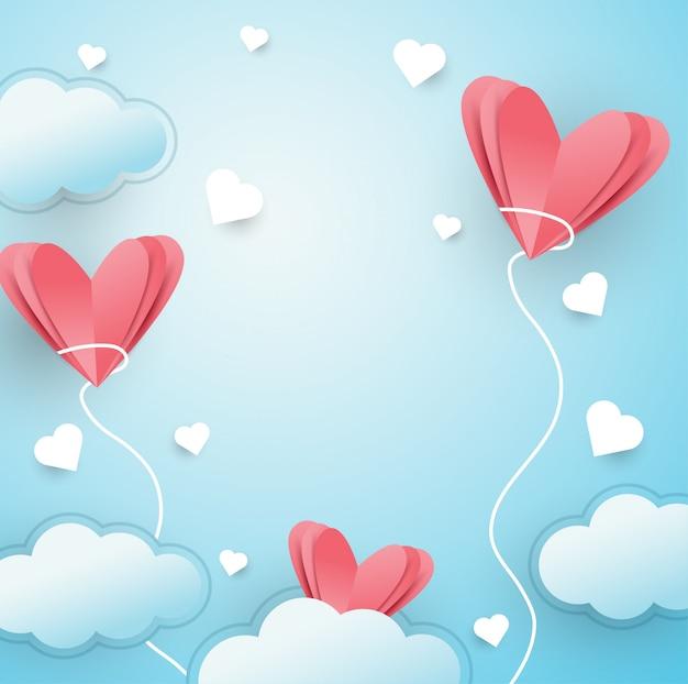 Ilustração, de, amor, voando, fundo